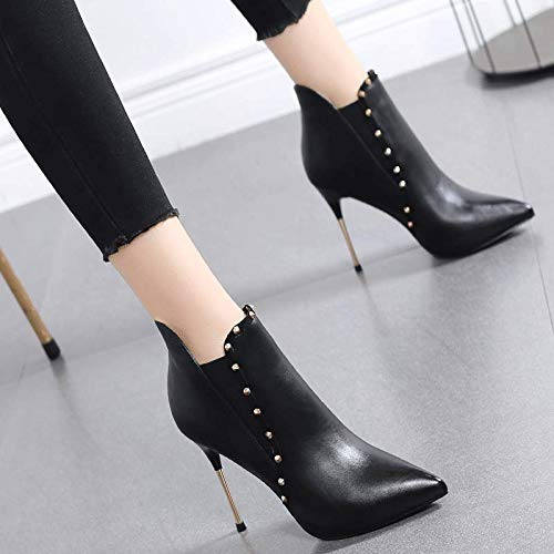 HRCxue Pumps Stöckelschuhe weibliche Stilett Spitze sexy Stiefeletten Mode Nieten schwarz Wilde Martin Stiefel weiblich 37 schwarzes Leder