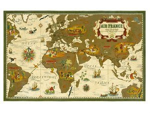 World travel poster air france world map 9 inch by 12 inch amazon world travel poster air france world map 9 inch by 12 inch gumiabroncs Images