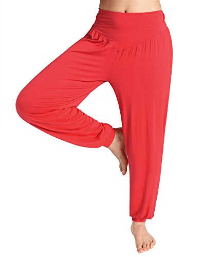 Weintee Women's Rayon Spandex Loose Yoga Harem Pants XL Red