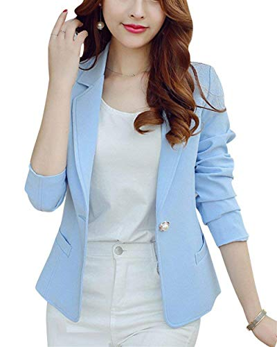 Donna Donna Fit Bavero Corto Giaccone Giaccone Blazer Button Lunga Donne Cappotto di Himmel Ovest Formale Colore qualità Alta Slim Blau Casuale Battercake Manica Autunno Puro C5gAq5Zw