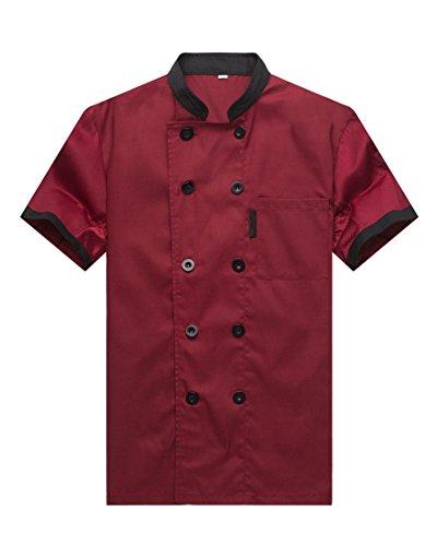 WAIWAIZUI-Chef-Jackets-Waiter-Coat-Short-Sleeves-Underarm-Mesh-Size-M-LabelXL-Red