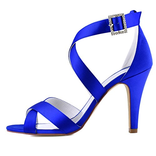ElegantPark Open Wedding Toe High Sandals Heel Satin Strap Women Cross Blue Dress Shoes ZRxrCqnZwS