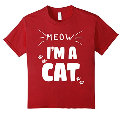 Kids Meow I'm A Cat Funny Cat Lover Halloween Costume T-Shirt 12 Cranberry