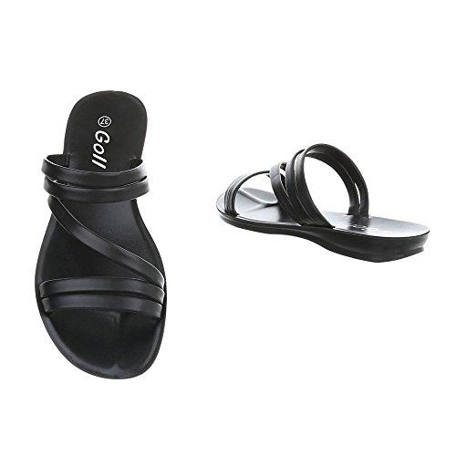 Ital-Design Zapatos Para Mujer Sandalias de Vestir Plano Zuecos Negro
