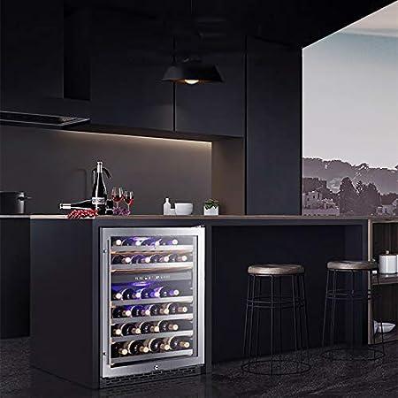 VIY Vinoteca Nevera de vinos Refrigerador Bebidas 150 litros 44 Botellas estándar 6 Estantes Control Touchpad 2 Zonas Temperatura 5-9°C y 16-18°C Doble Cristal