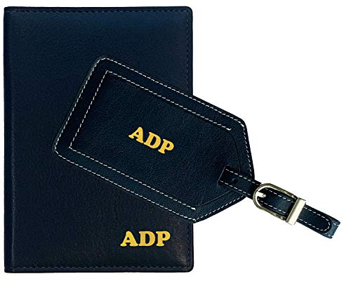 Personalized Monogrammed Navy Leather RFID Passport Wallet and Luggage Tag (Monogrammed Passport Cover)