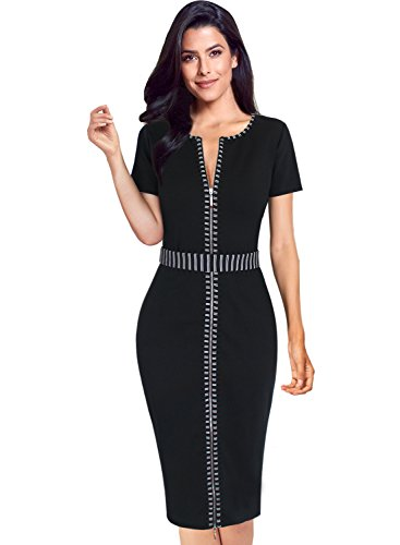 VFSHOW Womens Black Elegant Contrast Zipper Front Work Business Office Party Sheath Dress 2813 BLK 3XL