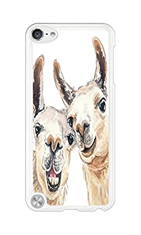 DDOLAA For Apple iPod Touch 6 Case.iPod Touch 5 Hard Case Llama Watercolor Painting [Shock Absorption Protection] White PC Hard Case For iPod iTouch 5Th/6Th Cover (Ipod 5 Llama Case)