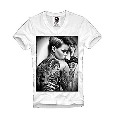 E1syndicate Mens V-neck T-shirt Rihanna Tattoo Tour Last Kings S/m/l/xl