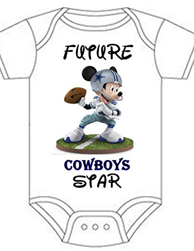 Dallas Cowboys Mickey Mouse Fan Shirt Infant Baby Onesie 6-12 Months (Dallas Cowboys Costume For Boys)