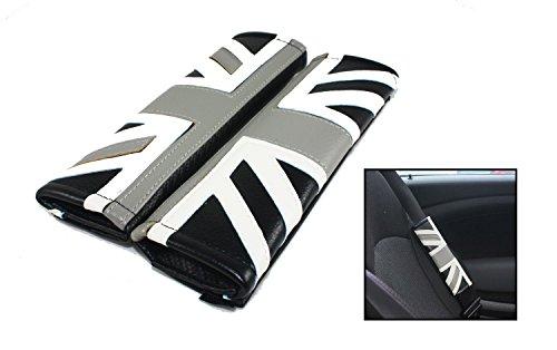 Cuztom Tuning Fits for 2002-2017 Mini Cooper Leather Black Jack UK Flag Logo Comfort Seatbelt Shoulder Pad X 2