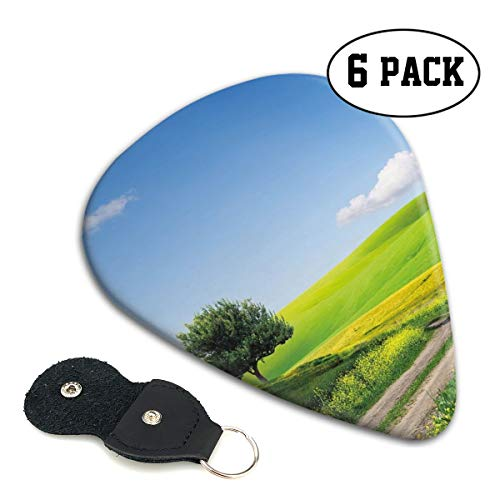 Guitar Picks 6 pcs,Rural Country Scenery With Floral Grass Field Tree Idyllic Landscape