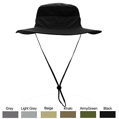 Sun Hat for Men & Women, Wide Brim UPF 50+ UV Protection Beach Cap, Breathable Outdoor Boonie Hats with Adjustable Drawstring Design , Perfect for Hiking, Fishing, Camping, Boating & Safari (Black) Boonie Hat Nylon Hat