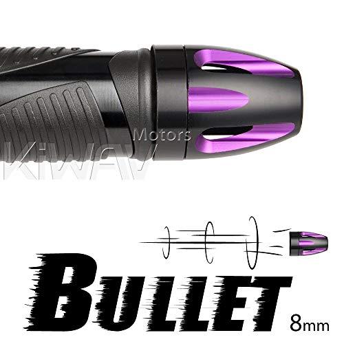 (KiWAV Magazi Handle Bar End Caps Bar Grips Plugs Bullet Purple with Black Base Fit 7/8