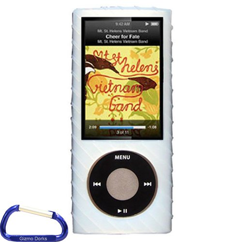 Generation Silicone Skin - Gizmo Dorks Silicone Skin Case (Clear) with Grip Ridges and Carabiner Key Chain for the Apple iPod Nano 5G
