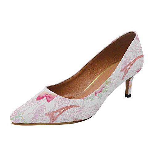 InterestPrint Womens Low Kitten Heel Pointed Toe Dress Pump Shoes Eiffel Towers and French Bouquets Multi 1 jKDMsZUc