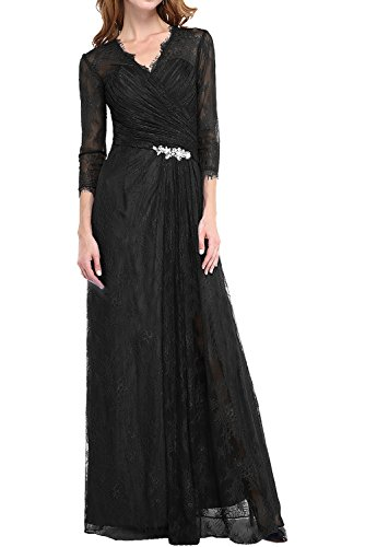 DressyMe Women's Evening Dresses Long Sleeves Lace Maxi A-Line Pleated-26W-Black