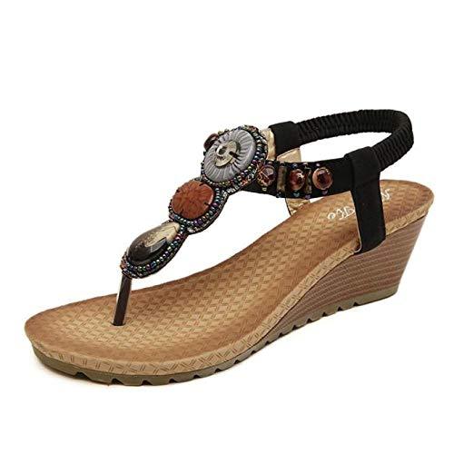 6762a0ef894 Baiggooswt 2019 Women's Sandals, Women Summer Vintage Beach Beads Sandals  Shoes Black