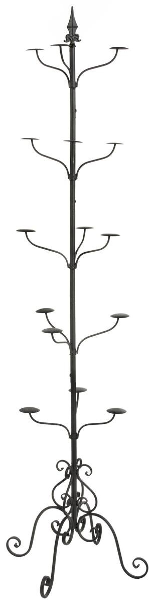 Displays2go Tall Multi-Tiered Rotating Wrought Iron Hat and Coat Rack, Black