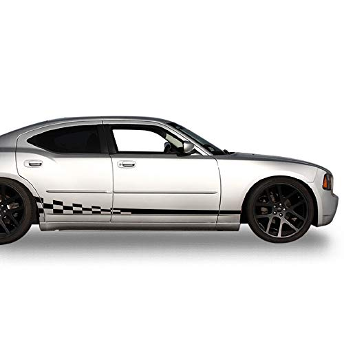 (Bubbles Designs Decal Sticker Vinyl Side Wavy Finishing Stripe Kit Compatible with Dodge Charger 2006-2010 (Black))
