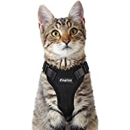 Eagloo Cat Harness Escape Proof Small Cat and Dog Harness Soft Mesh Harness Adjustable Cat Vest Harness with Reflective Strap Metal Clip Cat Walking Jacket Comfort Fit for Kitten Puppy Black X-Small