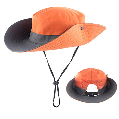 Protection Sun Cowboy (Women Summer Sun Hat Wide Brim UV Protection Ponytail Bucket Cowboy Hats for Beach Fishing Orange)