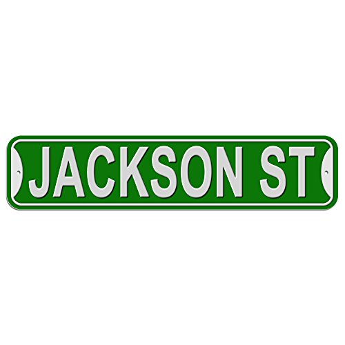 Jackson St Street Sign - Plastic Wall Door Street Road Male Name - Green