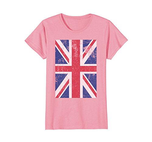Womens Union Jack Flag England Great Britain United Kingdom T Shirt Large Pink (Pink Jack Union)