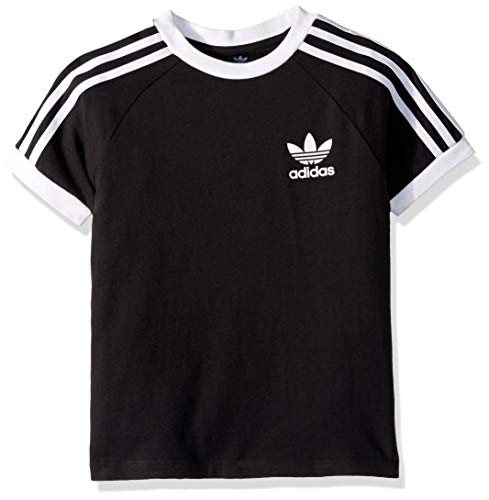 adidas Originals Boys' Big 3-Stripes Tee, Black/White, X-Small