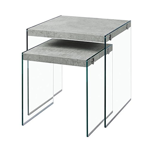 Monarch Specialties I 3231,Nesting Table, Tempered Glass, Grey Cement by Monarch Specialties