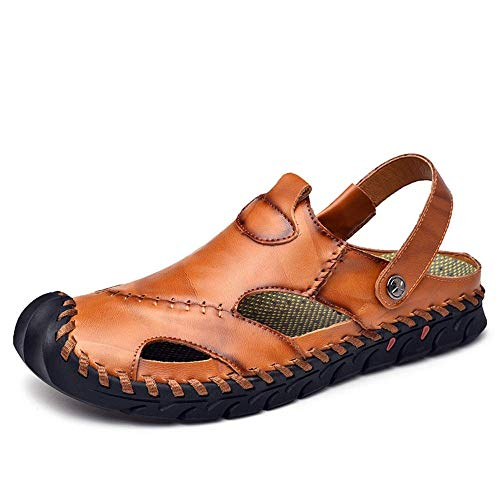 jauneish marron 8 UK BAIJJ Sandales d'été pour Hommes, Sandales en Cuir Ox à la Mode pour Hommes Se Glissent sur des Chaussures à piqûres Anti-Collision à piqûres exquises (Couleur  Bcourir jaunÂtre, Taill