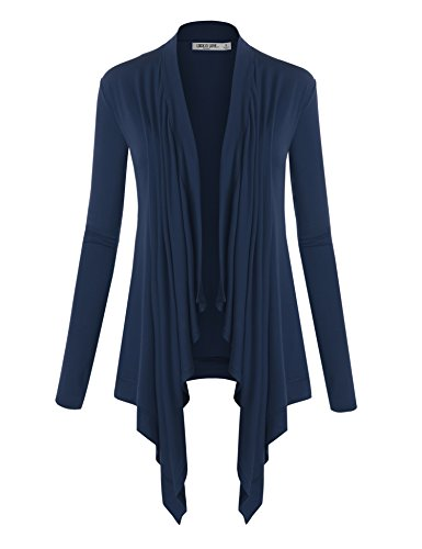 WSK849 Womens Off-Duty Open Front Cardigan S Navy ()