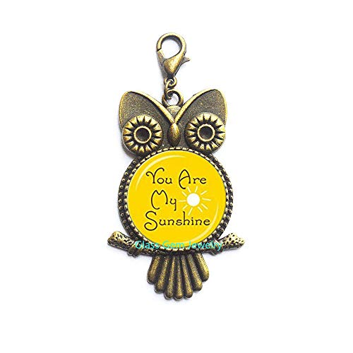 You are My Sunshine Lobster Clasp Sunshine Yellow and White Sunshine Owl Zipper Pull Happy Jewelry Quote Lobster Clasp Gift for Her,Q0164]()