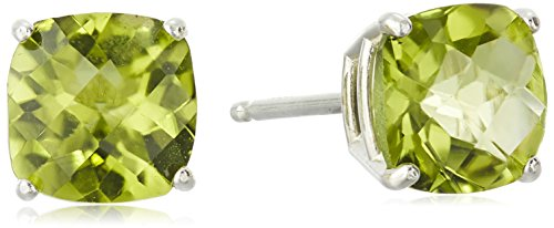Sterling Silver Cushion-Cut Checkerboard Peridot Stud Earrings (6mm)