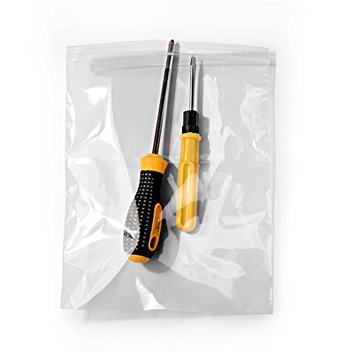 Halulu 8' x 10' Resealable Poly Bags Reclosable Plastic Bags Zip Bags, Clear, 2 Mil, Pack of 100