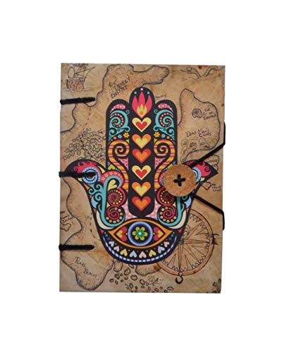 Pa Vintage Linen - Vintage Notebook Writing Journal for Unisex | Ruled Hardcover Travel Diary with Beautiful Hamsa Hand Designs Digital Paper Print Small Sized Premium Paper - 120 Pages 7x5 Inch