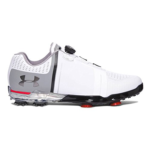 - Under Armour Men's UA Spieth One BOA Golf Shoes White/Black/Red 11 M