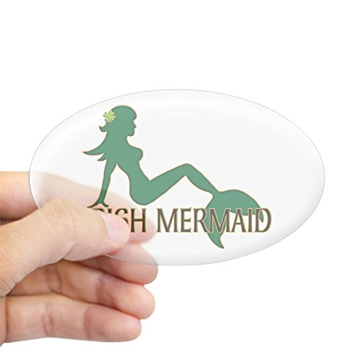 CafePress Irish Mermaid White Crop Sticker Oval Bumper Sticker, Euro Oval Car Decal
