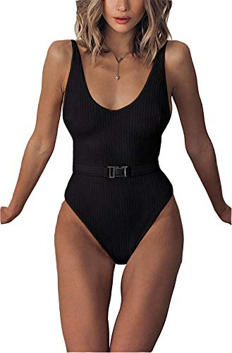 Scoop Neck One Piece Swimsuit - FEIYOUNG Sexy Womens Monokini Scoop Neck One Piece Backless Cheeky Swimwear Semi Thong Bikini with Belt Black