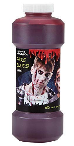 Ladies Mens Childrens Large Bottle Fake Blood Gruesome Scary Halloween Make Up Party Decoration Fancy Dress Costume Outfit -