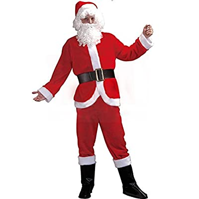 Suroomy Santa Suit Plus Size Flannel Cosplay Christmas Adult Santa Claus Costume with Beard