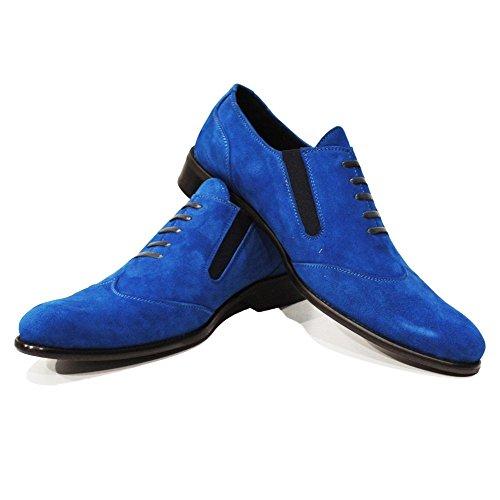 PeppeShoes Modello Cielo - Handgemachtes Italienisch Leder Herren Blau Mokassins Müßiggänger und Slip-Ons - Rindsleder Wildleder - Schlüpfen