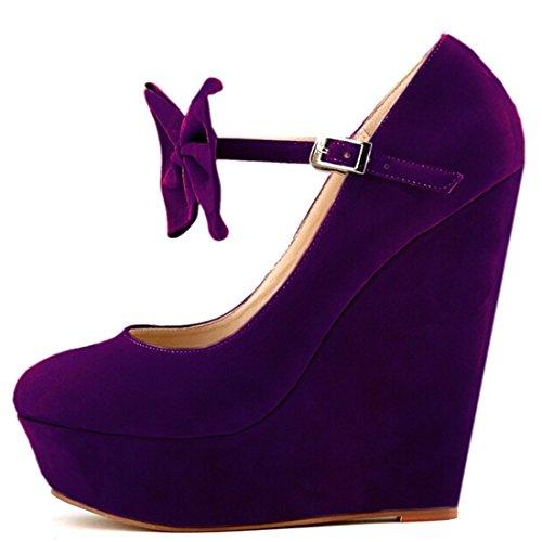 Azbro Moda Estilete Cuña Tacón Plataforma Lazo Correa Tobillo Color Caramelo Púrpura