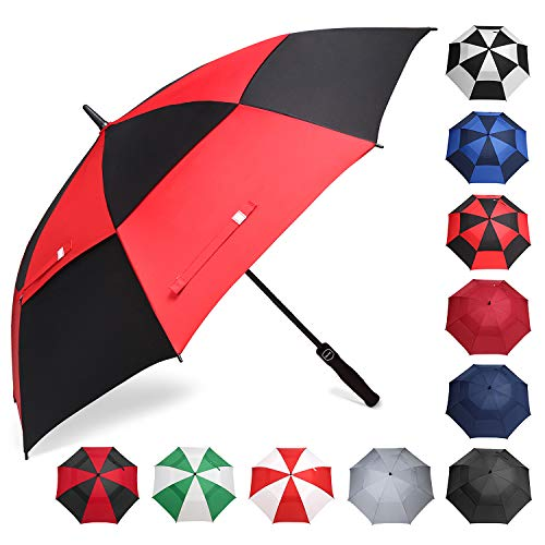 BAGAIL Golf Umbrella 68/62/58 Inch Large Oversize Double Canopy Vented Automatic Open Stick Umbrellas for Men and Women(Black/Red,58 inch)