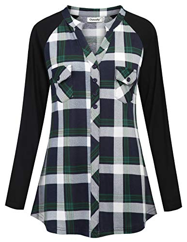 (Ouncuty Long Sleeve Blouses for Women Office, Baggy Floral Printed Handkerchief Hem Boutique Tunic Tops Ployseter Cozy Loose Fit Blouses for Leggings Jeans Tights Pants Capri Extra Larg Navy Green L)