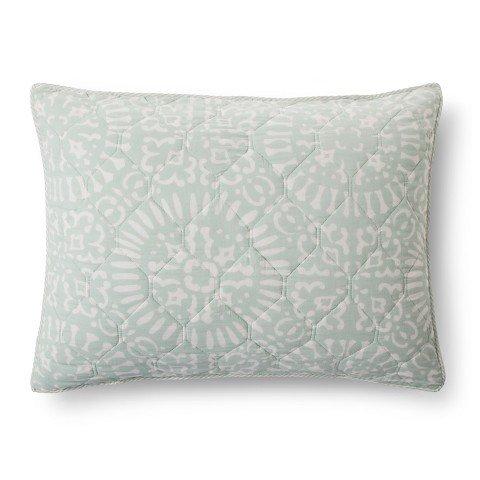 threshold-tile-medallion-standard-quilt-sham-26x20-light-green-white