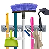 Mop and Broom Holder 5 Position with 6 Hooks Organizer Wall Mount Command and Garden Tool Organizer for Rake or Rop,Garage Storage Systems Holds up to 11 Tools Strong Grip Life-time Guarantee