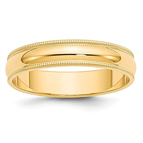 Top 10 Jewelry Gift 14k 5mm Milgrain Half-Round Wedding Band by Jewelry Brothers Rings