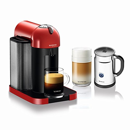 Nespresso A+GCA1-US-RE-NE VertuoLine Coffee and Espresso Maker with Aeroccino Plus Milk Frother, Red