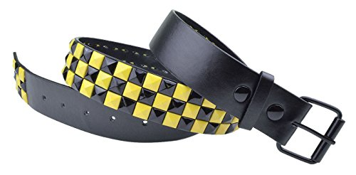 Dabung - Women's Genuine Faux Leather Belts - Black Yellow Studded/S (Pyramid Stud Rainbow)